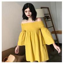 韩国品牌女士一字肩连衣裙