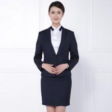 湖南职业装藏青条纹女裙套装定制批发