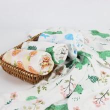 全竹印花纱布包巾
