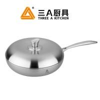 选购不锈钢锅品牌 三A厨具304不锈钢复合底锅批发