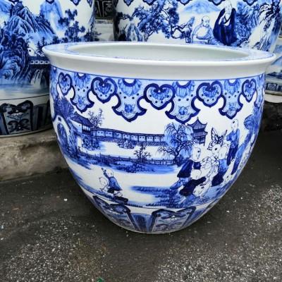 景德镇青花陶瓷大缸摆件 陶瓷大缸酒店饭店风水摆件