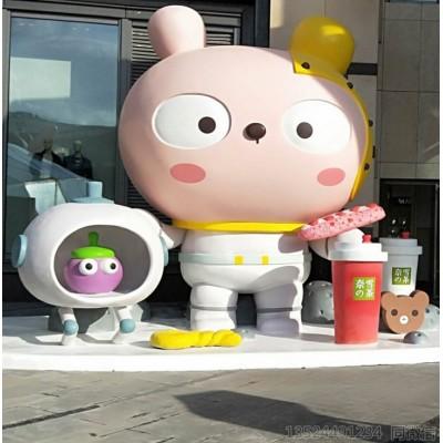 门面装饰公仔雕塑小摆件 奶茶杯卡通玻璃钢景观雕塑