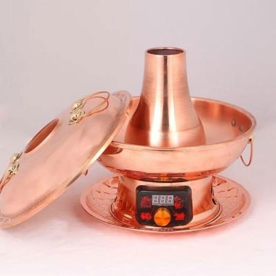 紫铜火锅插电火锅电炭两用铜火锅紫铜加厚纯手工铜火锅厂家