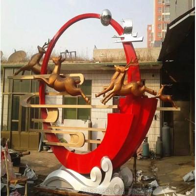 湖南不锈钢镜面月牙雕塑艺术 奔跑的鹿飞翔的鹤雕塑