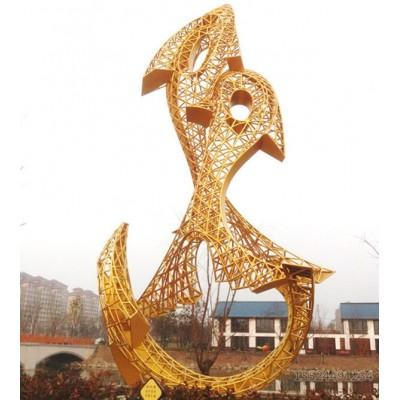 新疆室外不锈钢镂空金鱼雕塑 公园大型抽象金色摆件