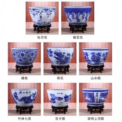 景德镇陶瓷鱼缸批发厂 家居摆件风水鱼缸