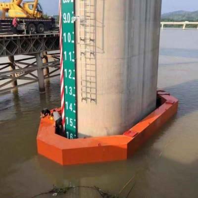 尖头自浮式钢覆式复合材料桥梁防撞设施,桥墩防撞垫