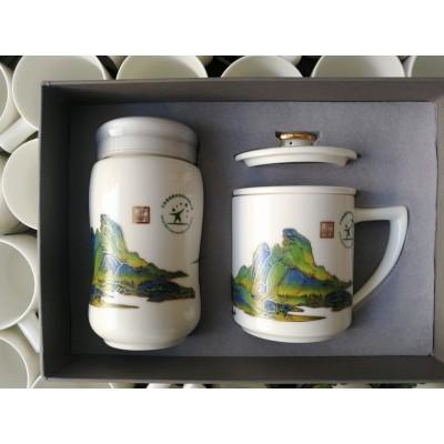 年底礼品陶瓷保温杯套装定制加字