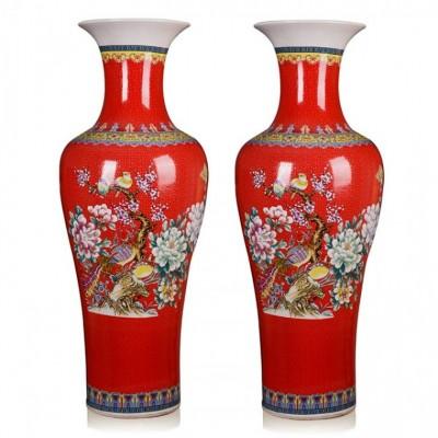 景德镇红色落地大花瓶批发 中国红大花瓶加字