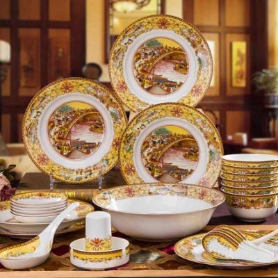 高档釉中彩骨瓷餐具套装,行业入伙礼品套装餐具礼品