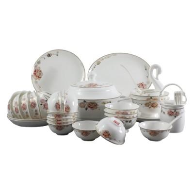 定做陶瓷餐具套装,陶瓷碗盘底部印公司商标logo