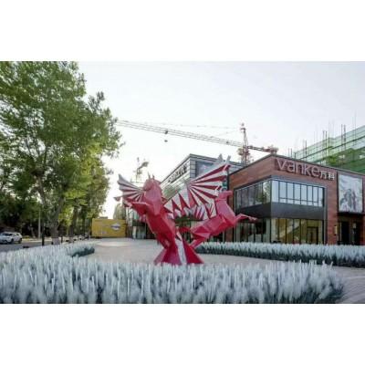 金华大型冲孔钢板双马雕塑 步行街景观飞马动物制作