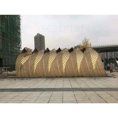 金华商业街电镀树叶雕塑 双面镂空凉亭摆件