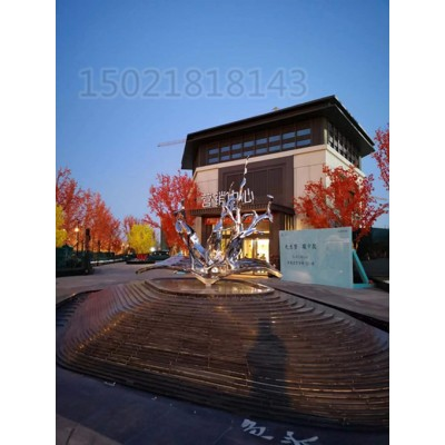 榆林售楼展示区不锈钢水花雕塑 金属异形水景景观摆件