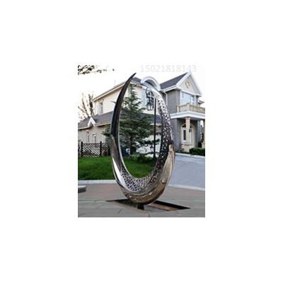 唐山地产售楼处灯光圆环雕塑 不锈钢水景组合摆件定制