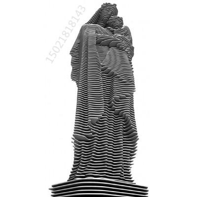 天门大型不锈钢切片焊接雕塑 人物绿地景观定制