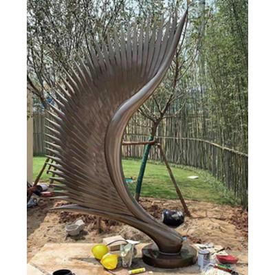 昆明创意抽象艺术翅膀雕塑 酒店大堂羽翼工艺定制