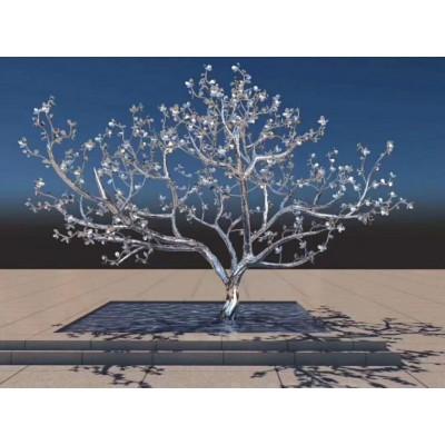 荆州小区安装梅花树雕塑 不锈钢镜面植物景观图