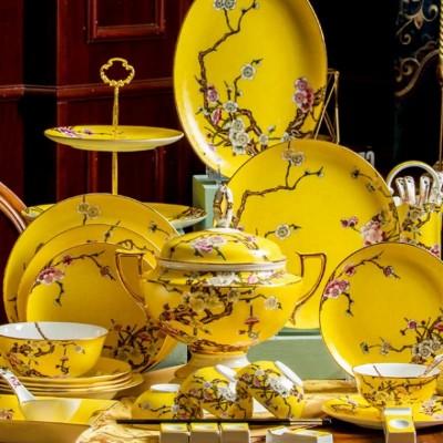 定制银行送客户礼品骨瓷餐具,景德镇珐琅彩骨瓷餐具价格