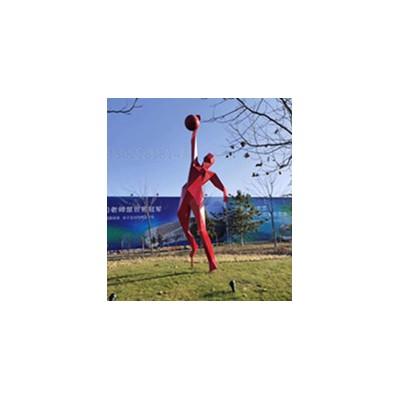 梧州草坪体操运动打篮球雕塑 烤漆羽毛球人物效果图