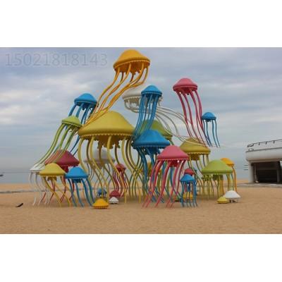 廊坊沙滩景观彩绘水母雕塑 海岸不锈钢海洋生物摆件
