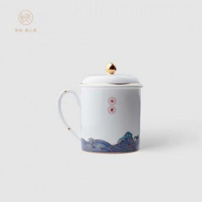 商务办公套装陶瓷礼品定制_陶瓷茶杯烟灰缸组合礼品包装