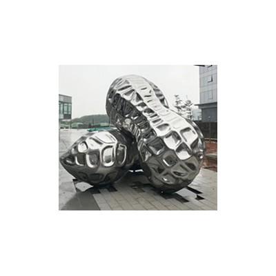 青海厂家供应不锈钢镜面花生雕塑 植物园林景观