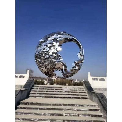 玉溪广场不锈钢圆球梨花纹雕塑定制工艺品