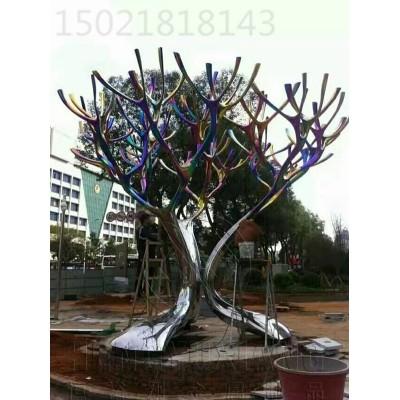 郑州不锈钢电镀效果树枝雕塑 商业街装饰果树雕塑工厂