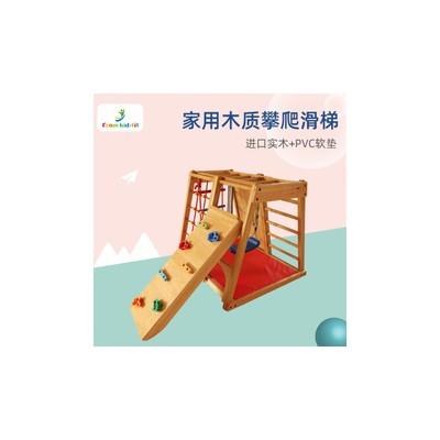 厂家定做攀岩者玩具 实木攀爬架室内儿童攀岩墙可配滑梯秋千吊环