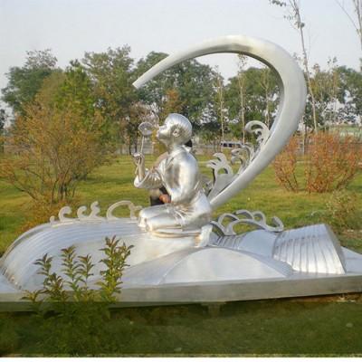 柳州公园草坪小孩吹风车雕塑 不锈钢拉丝童趣人物制作