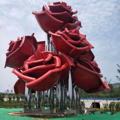 海口城市广场烤漆玫瑰花雕塑 不锈钢花径植物摆件