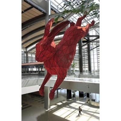 台州不锈钢小切面兔子雕塑 墙上壁虎制作图