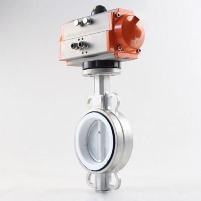 不锈钢气动对夹蝶阀、单作用气动蝶阀、日标JIS5K/10蝶阀