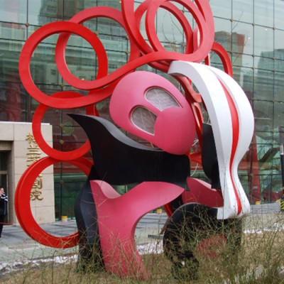 云南城市街道不锈钢彩绘京剧面谱雕塑 镂空摆件工厂