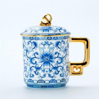 建党节纪念品定做陶瓷茶杯厂家,党员退休纪念品定做党徽茶杯