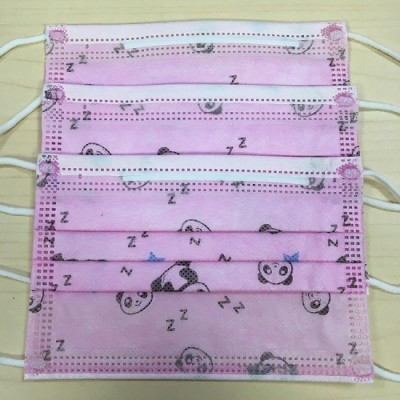 厂家直销一次性儿童平面口罩 现货特价 粉熊猫