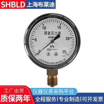布莱迪YE-75B不锈钢膜盒压力表